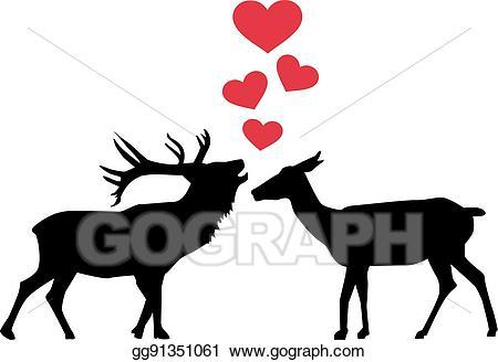 Vector illustration gg . Deer clipart love