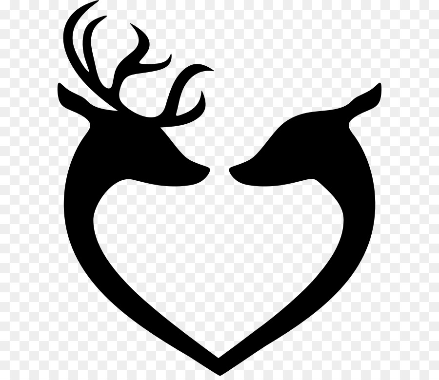 Black and white leaf. Deer clipart love
