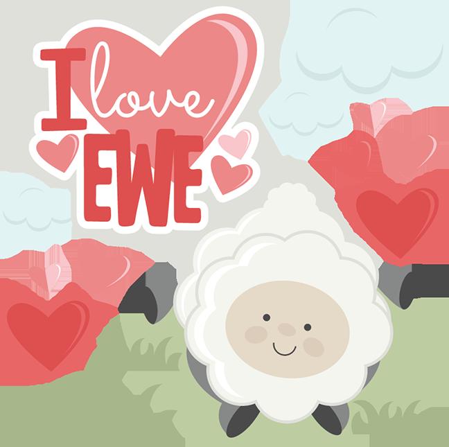 I love ewe svg. Scrapbook clipart valentine