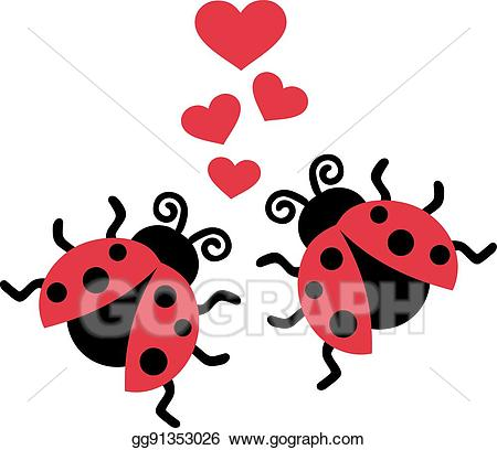 Eps illustration two in. Ladybugs clipart heart