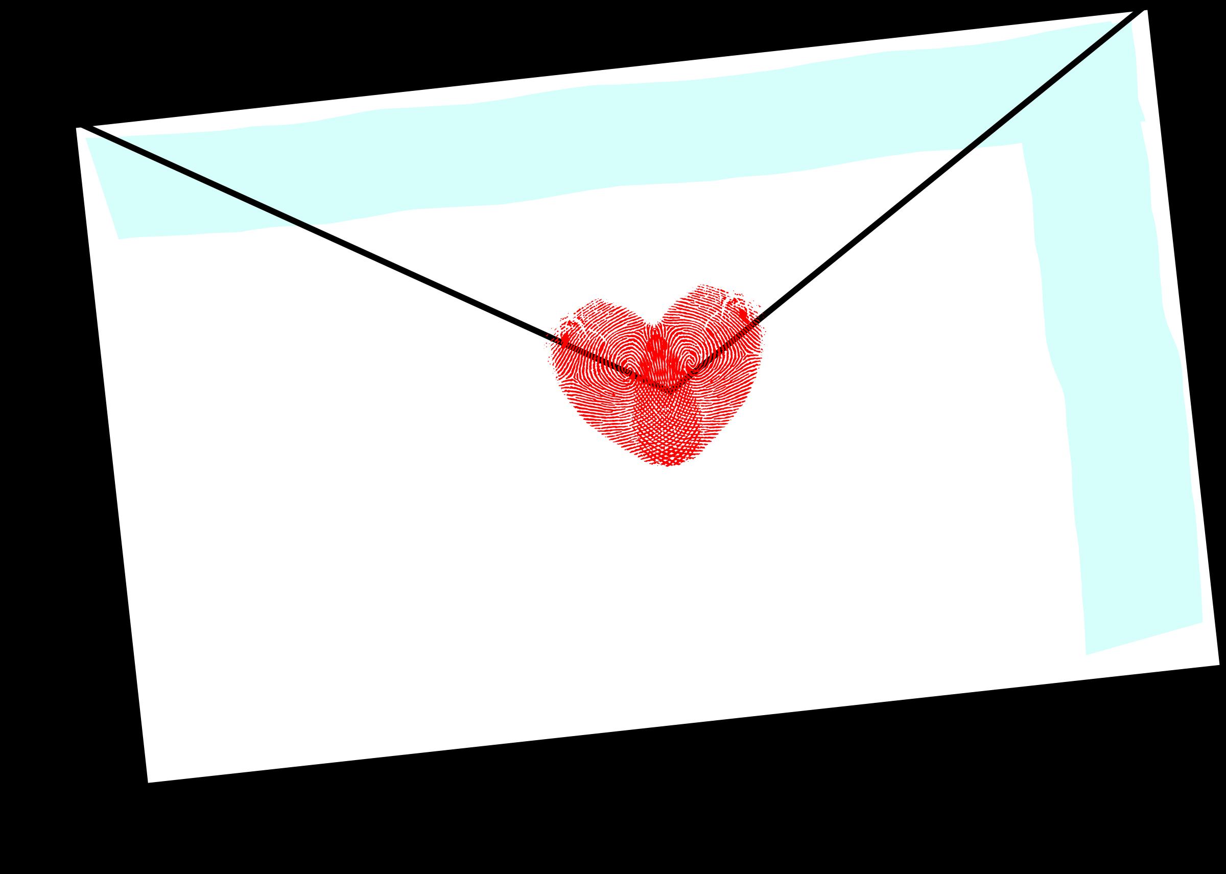 Love letter with fingerprint. Envelope clipart envelope design