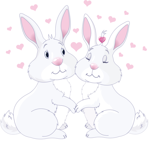 Cute bunnies in png. Clipart love rabbit