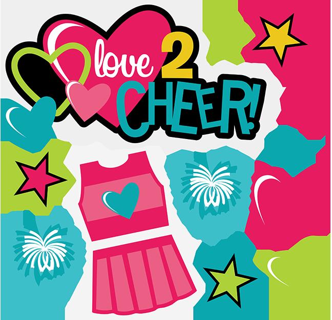 Love cheer svg scrapbook. Words clipart cheerleader