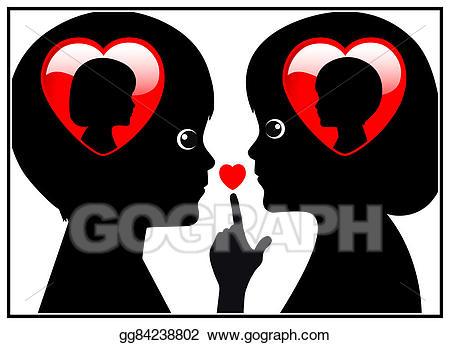 Stock illustrations between kids. Secret clipart secret love
