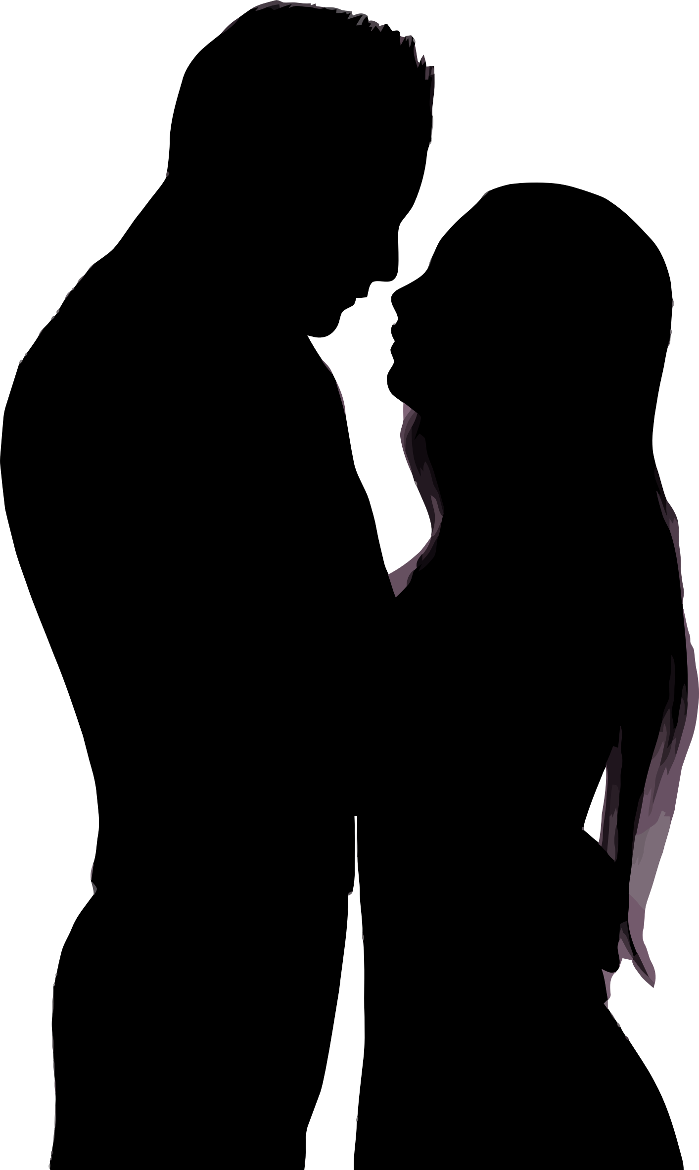 Kiss clipart man. Couple silhouette love at