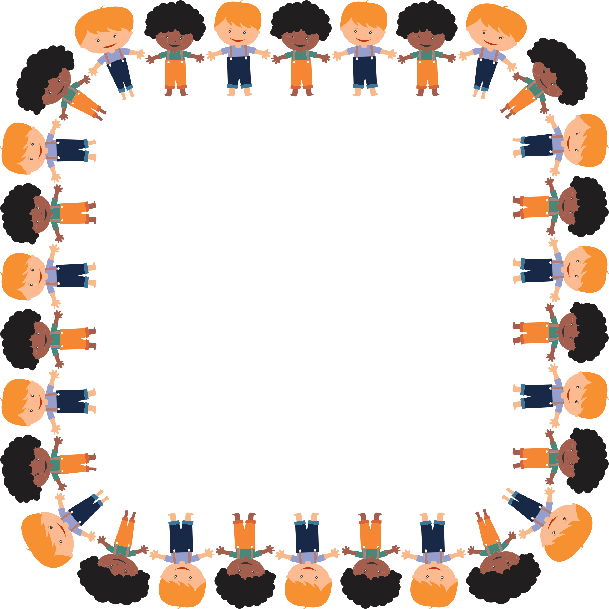 Cartoon boys big image. Square clipart orange