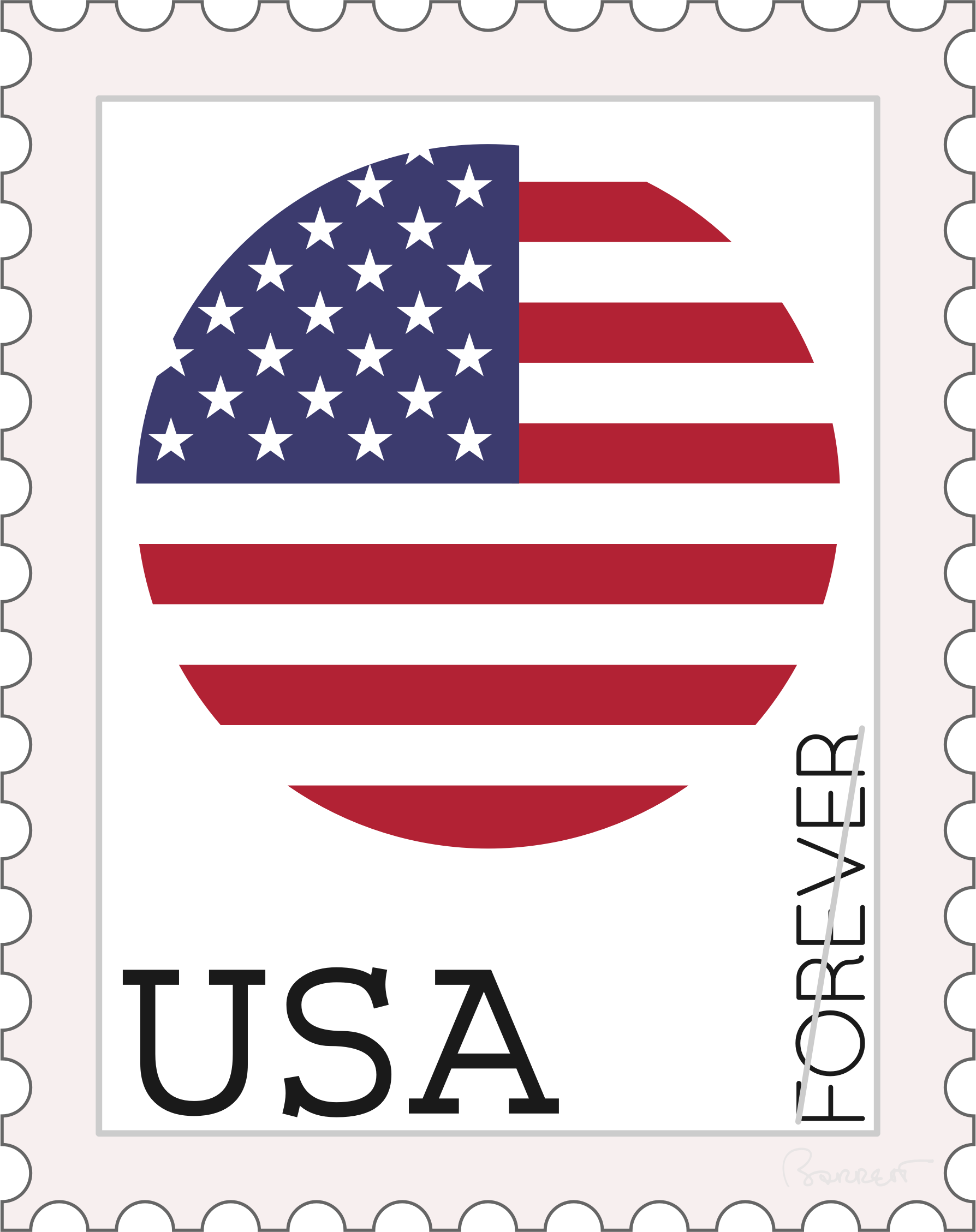 Stamp clipart guarantee. Usa forever concept big