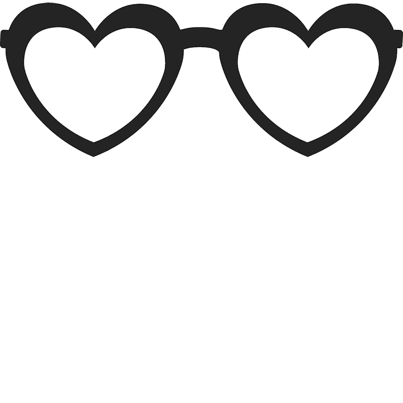 Heart shaped glasses stamp. Hearts clipart sunglass