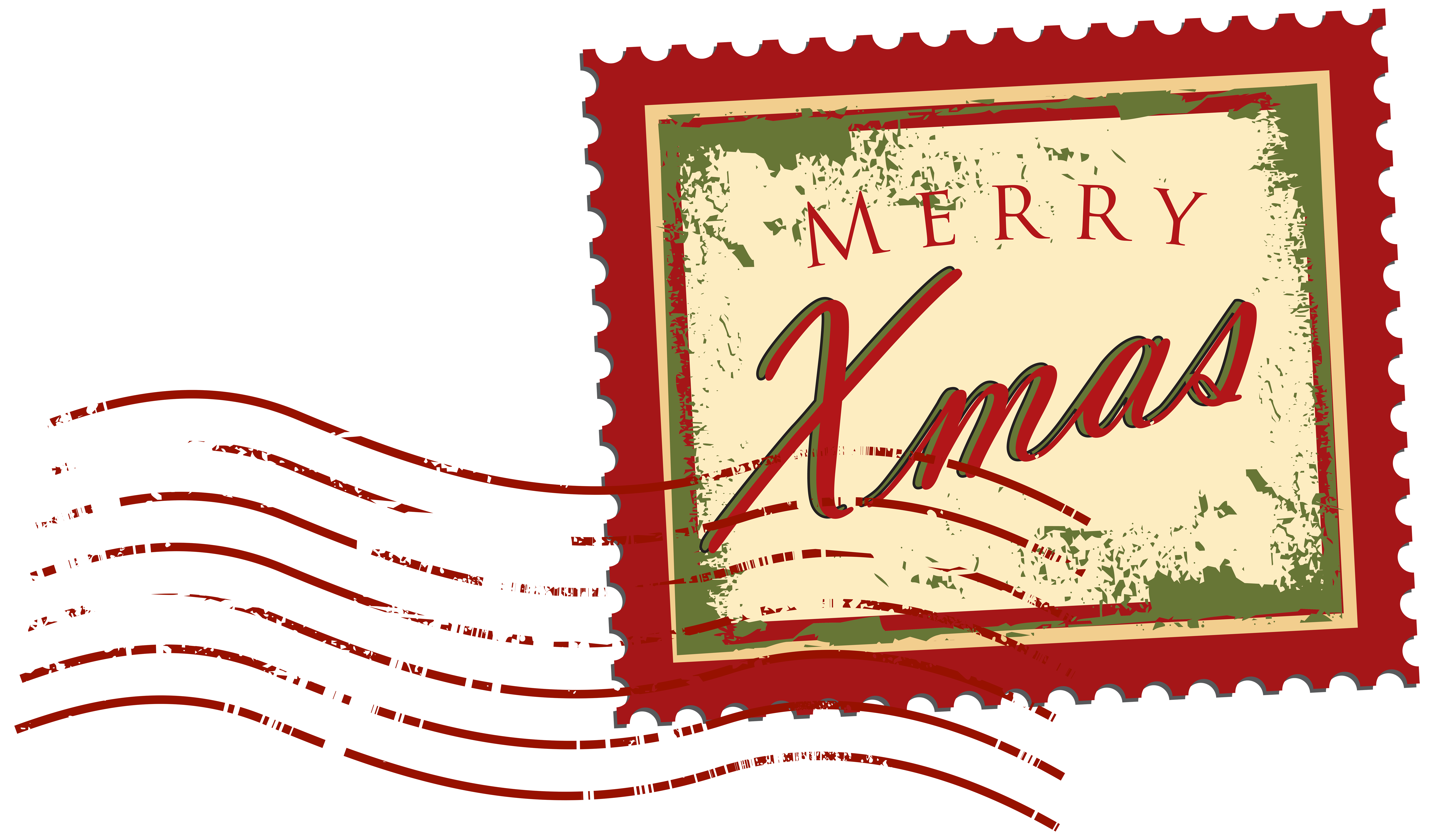 stamp clipart christmas mail