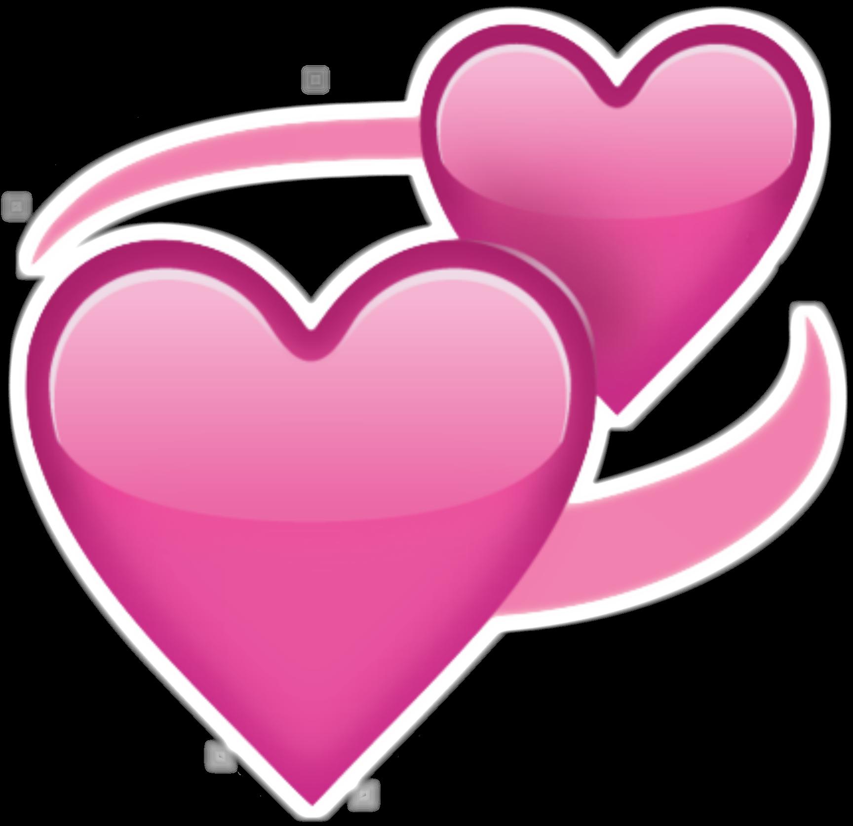 Pink hearts png. Two emoji transparent