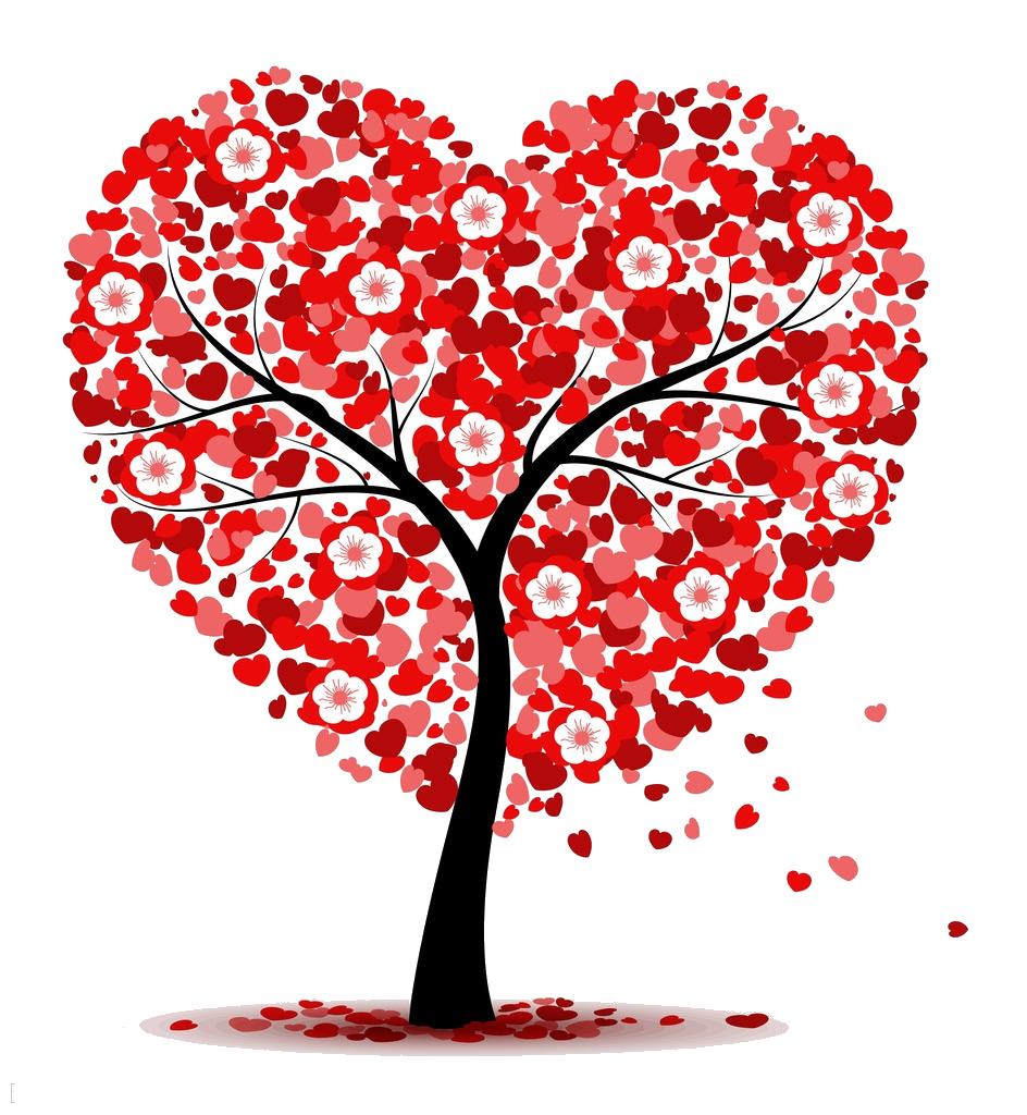 Heart clip art love. Clipart tree valentines day