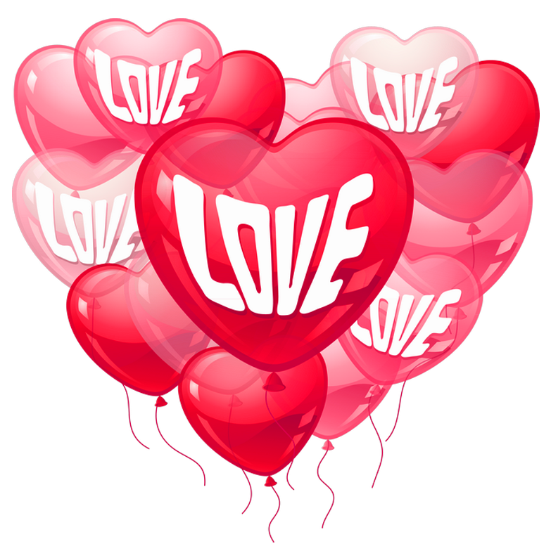 Love heart baloons png. Pink clipart valentines day