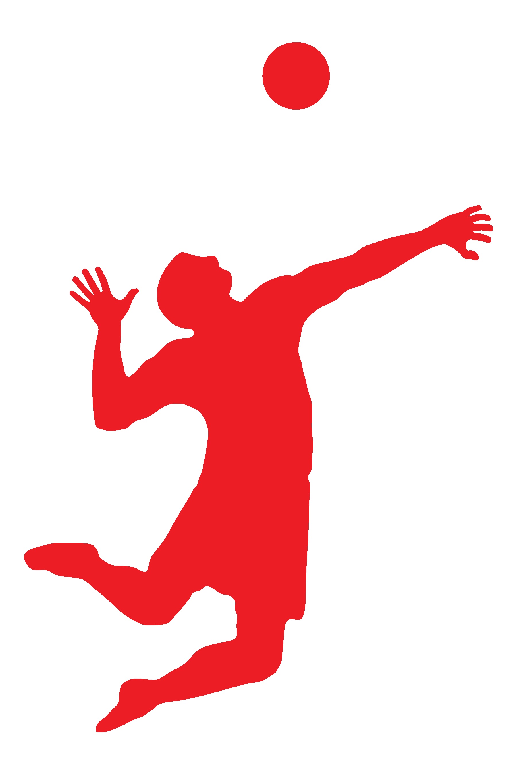 clipart volleyball red