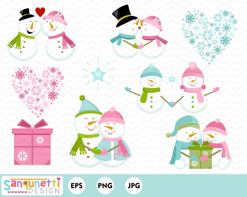 Snowman love clip art. Winter clipart couple