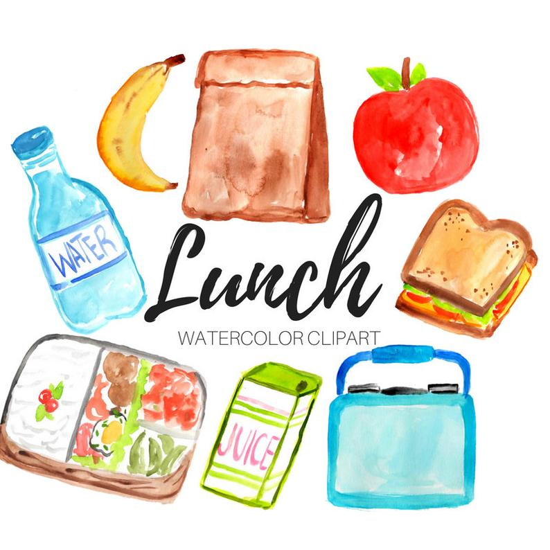 Lunch clipart cute. Watercolor back to school