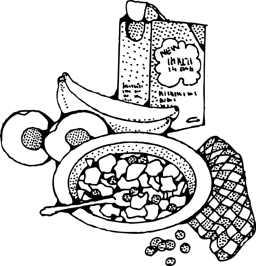 Clipart lunch buffet. Breakfast black and white