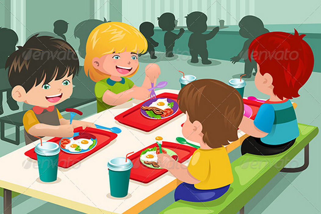 Kids eating at lunch. Luncheon clipart cartoon