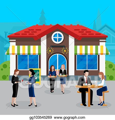 Vector stock colored flat. Clipart lunch company lunch
