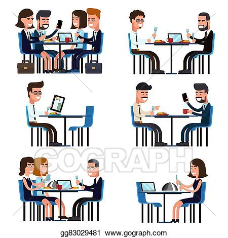 Vector art business lunch. Food clipart meeting