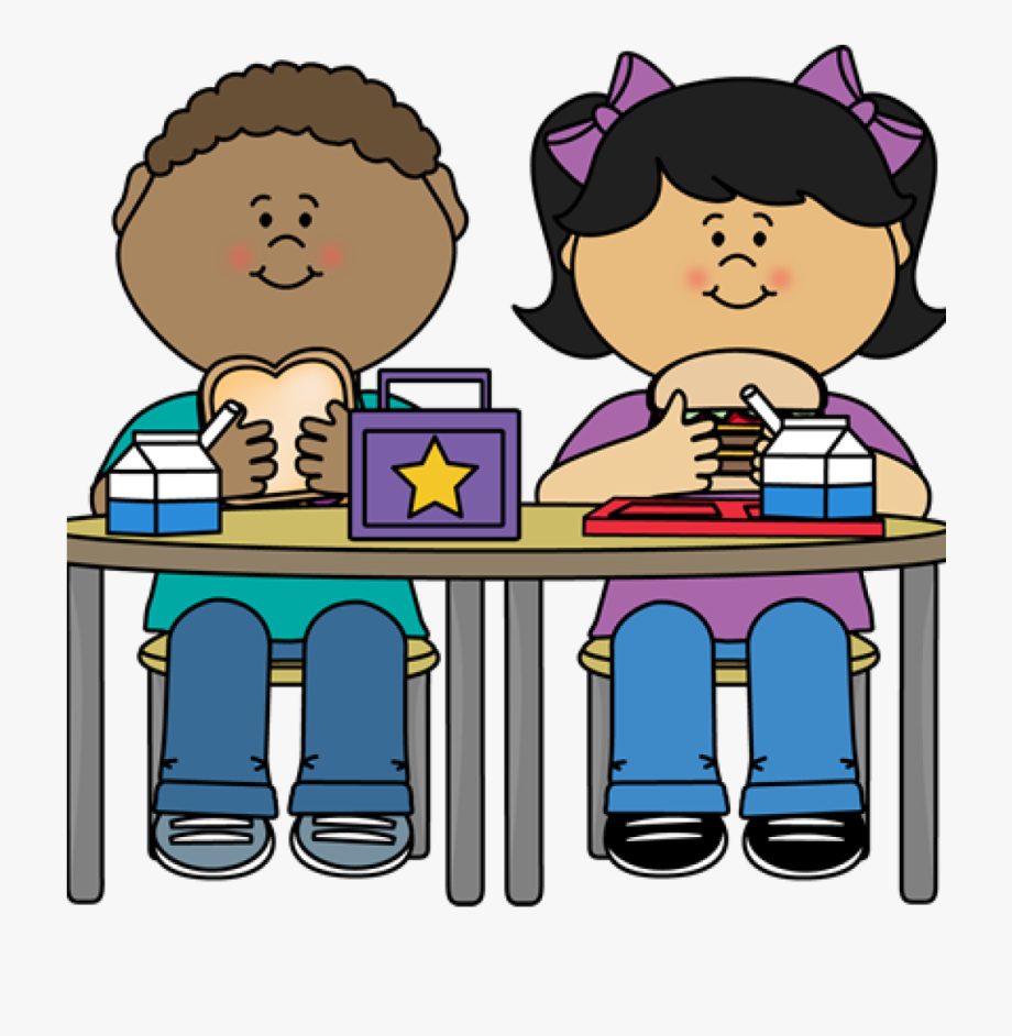 School lunch kids eating. Dinner clipart big meal