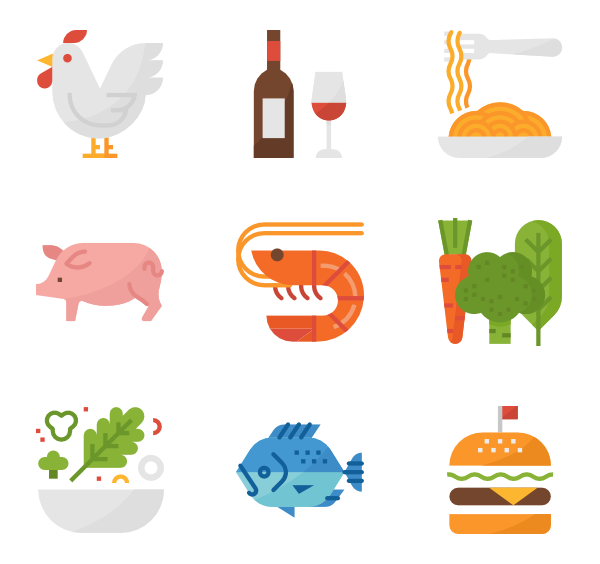 Lunch icons free vector. Luncheon clipart enough food