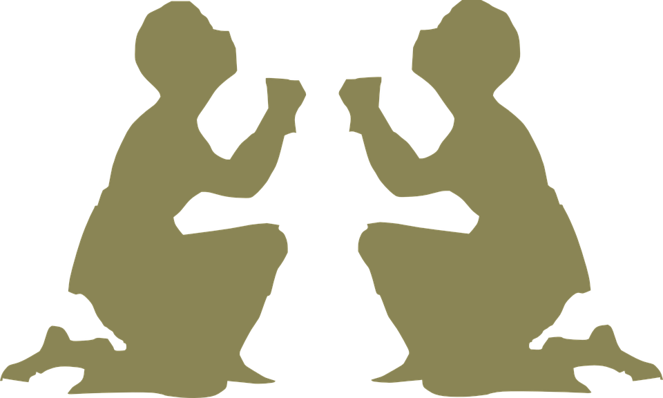 Family praying silhouette at. Hands clipart prayer