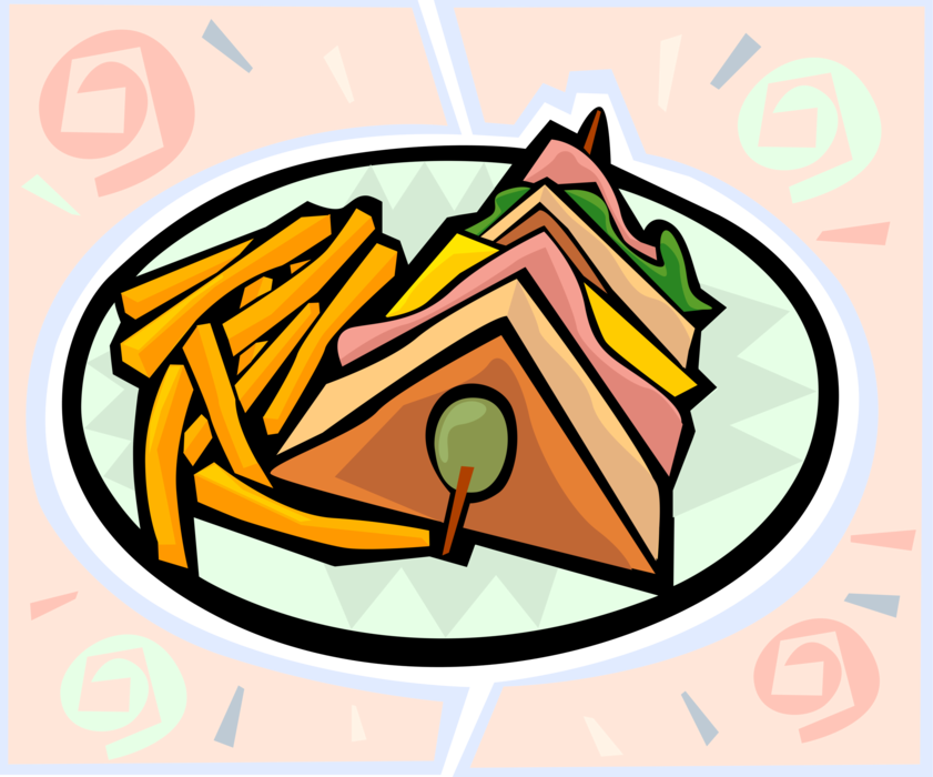 Clipart lunch sandwich chip. Club with french fries