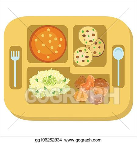 Vector stock lunch tray. Dinner clipart entree