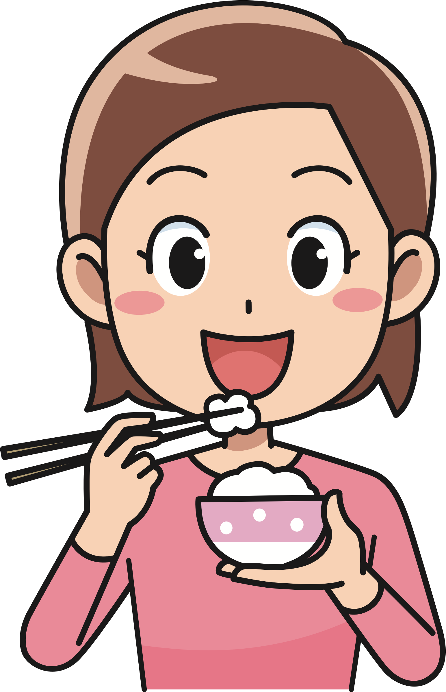 collection of eat. Clipart lunch woman