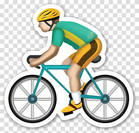 Emoji sticker riding bicycle. Cycle clipart man