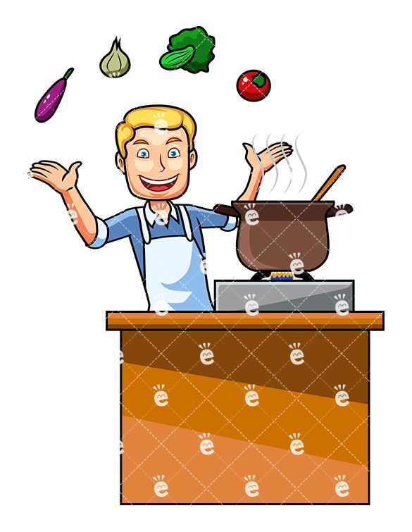 Cooking clipart man. A with vegetables