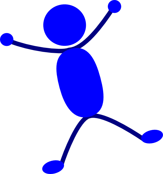 Solid blue man jumping. Diver clipart stick figure