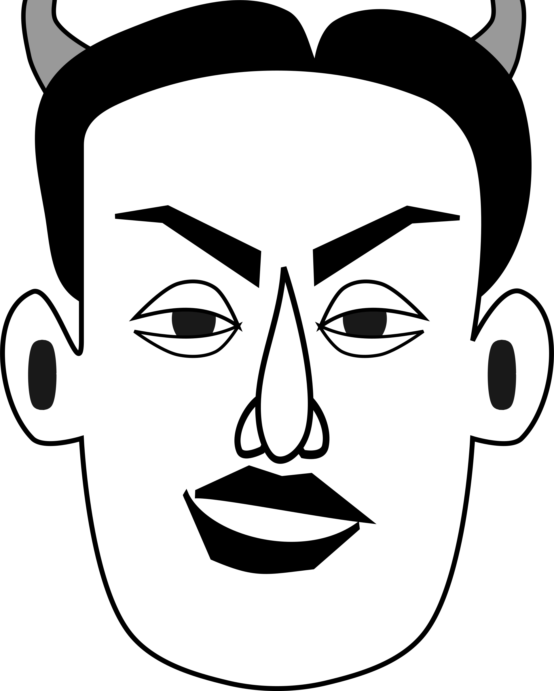 Diabolical emotion faces big. Father clipart male face