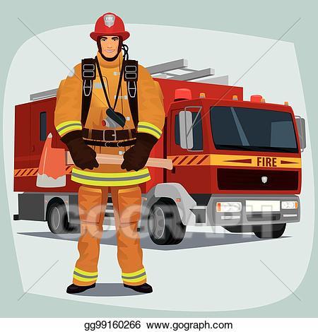Vector or fireman with. Firetruck clipart firefighter equipment