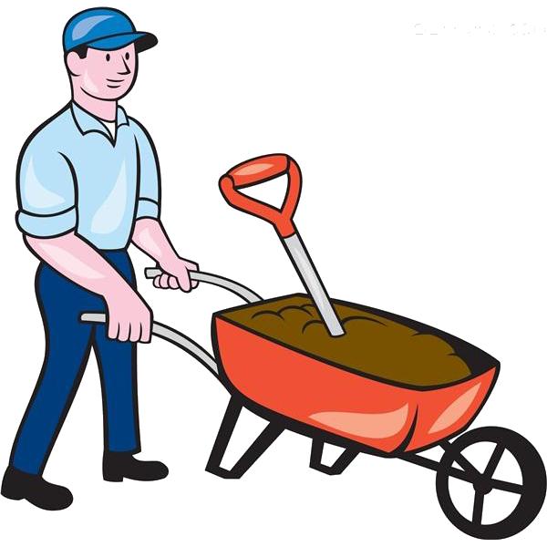 Wheelbarrow cartoon royalty free. Clipart man garden