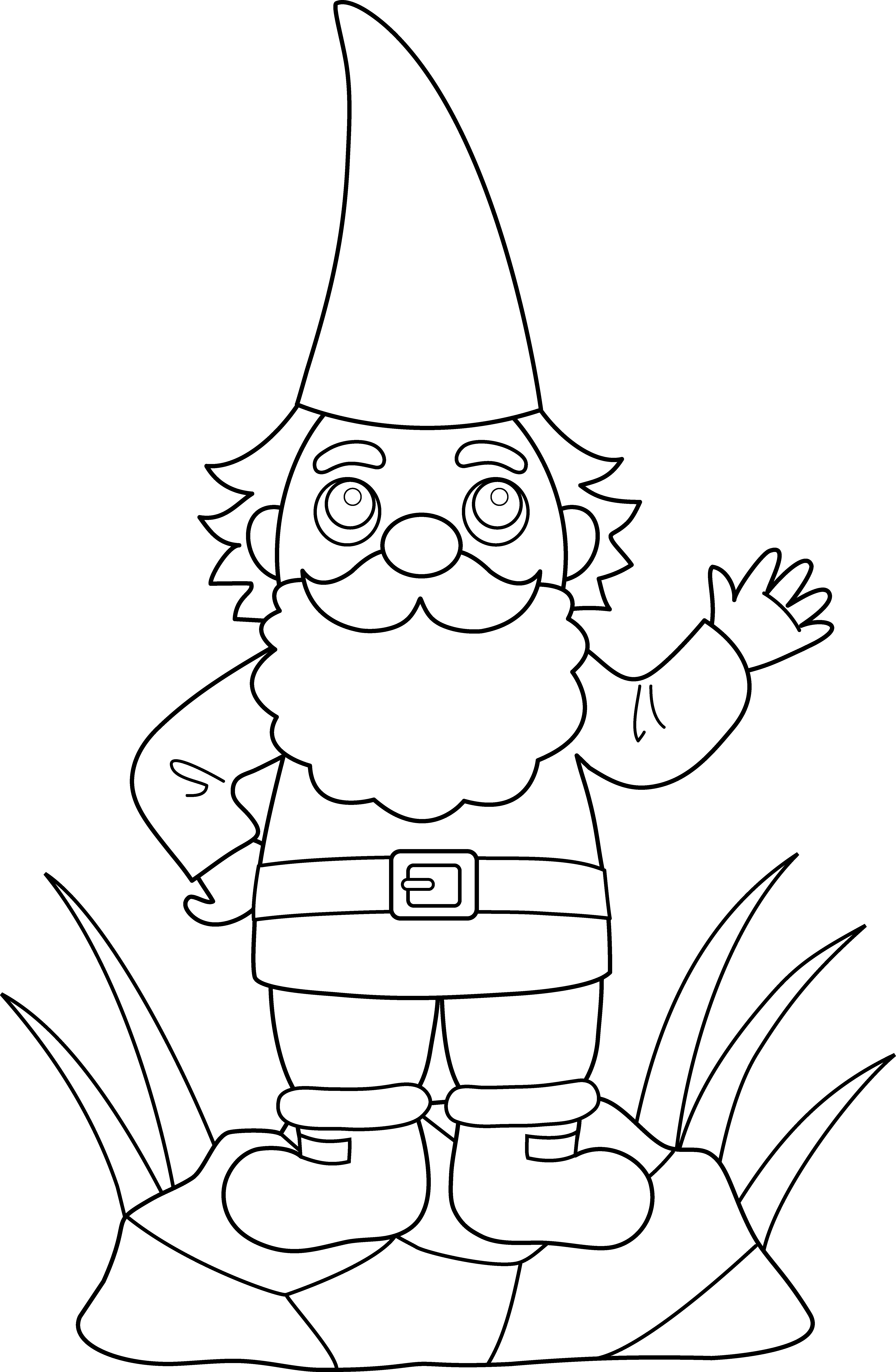 Gnome clipart color. Colorable garden free clip