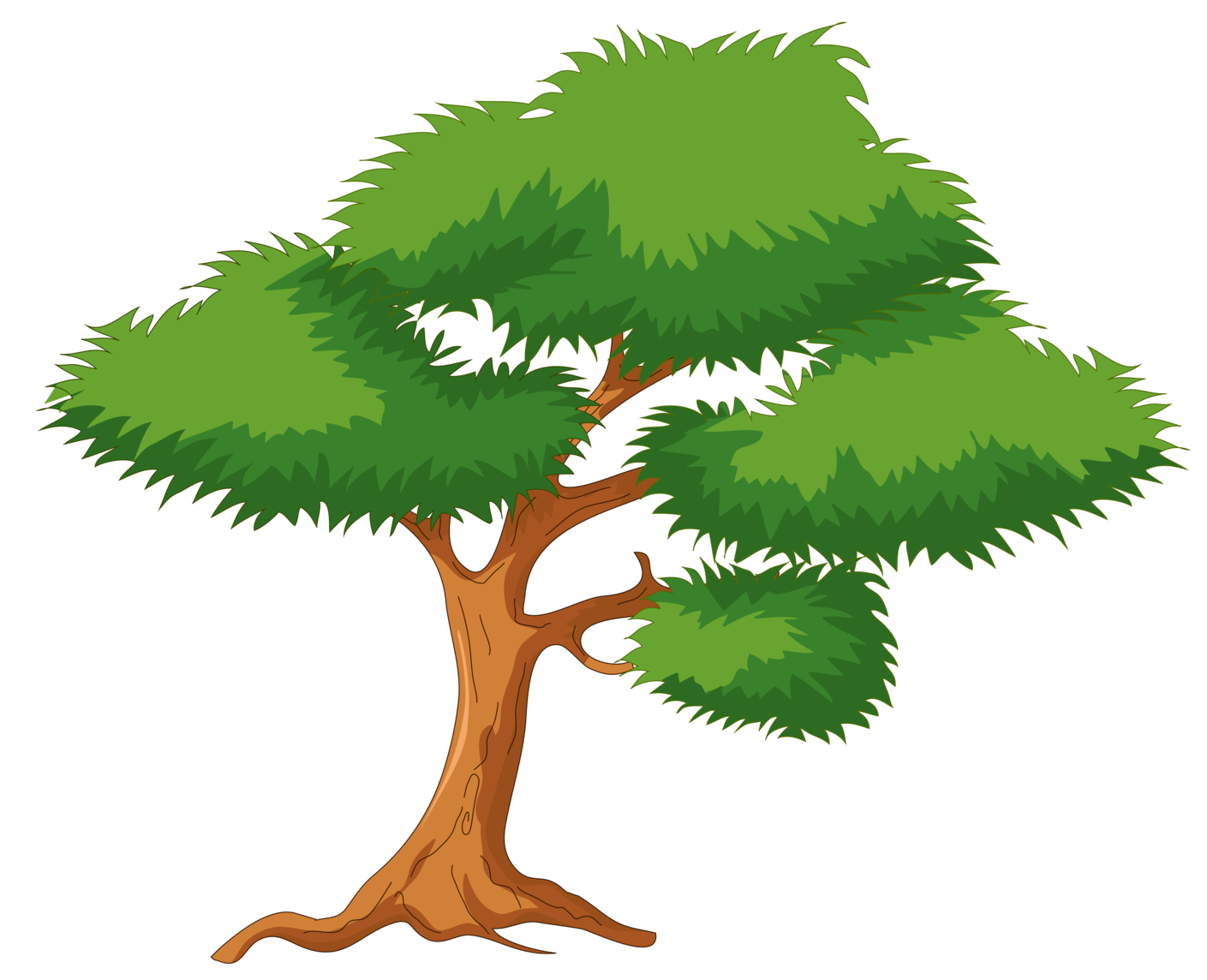 Clipart tree cartoon. Green png clip art