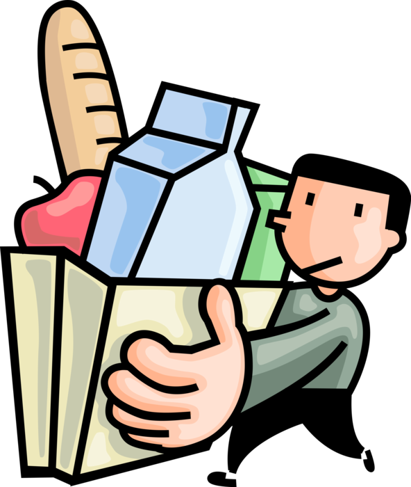 Shopper with bag of. Men clipart grocery shopping