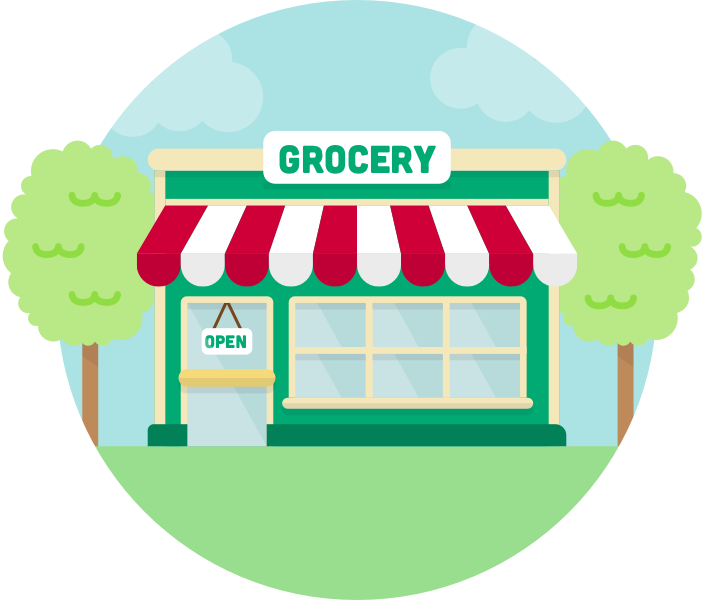 Grocery store drawing at. Dairy clipart food supermarket