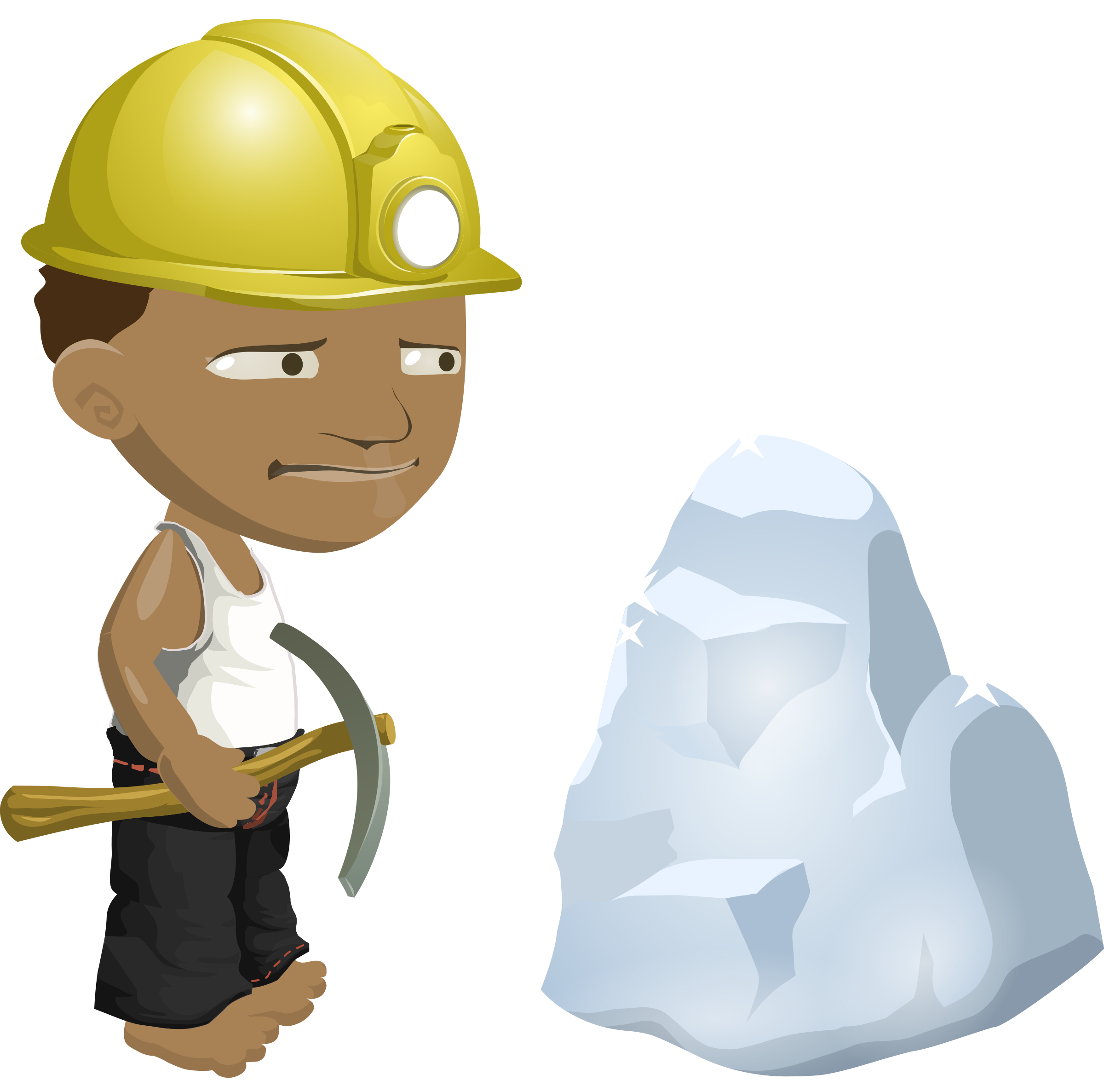 African miner big image. Man clipart hard hat