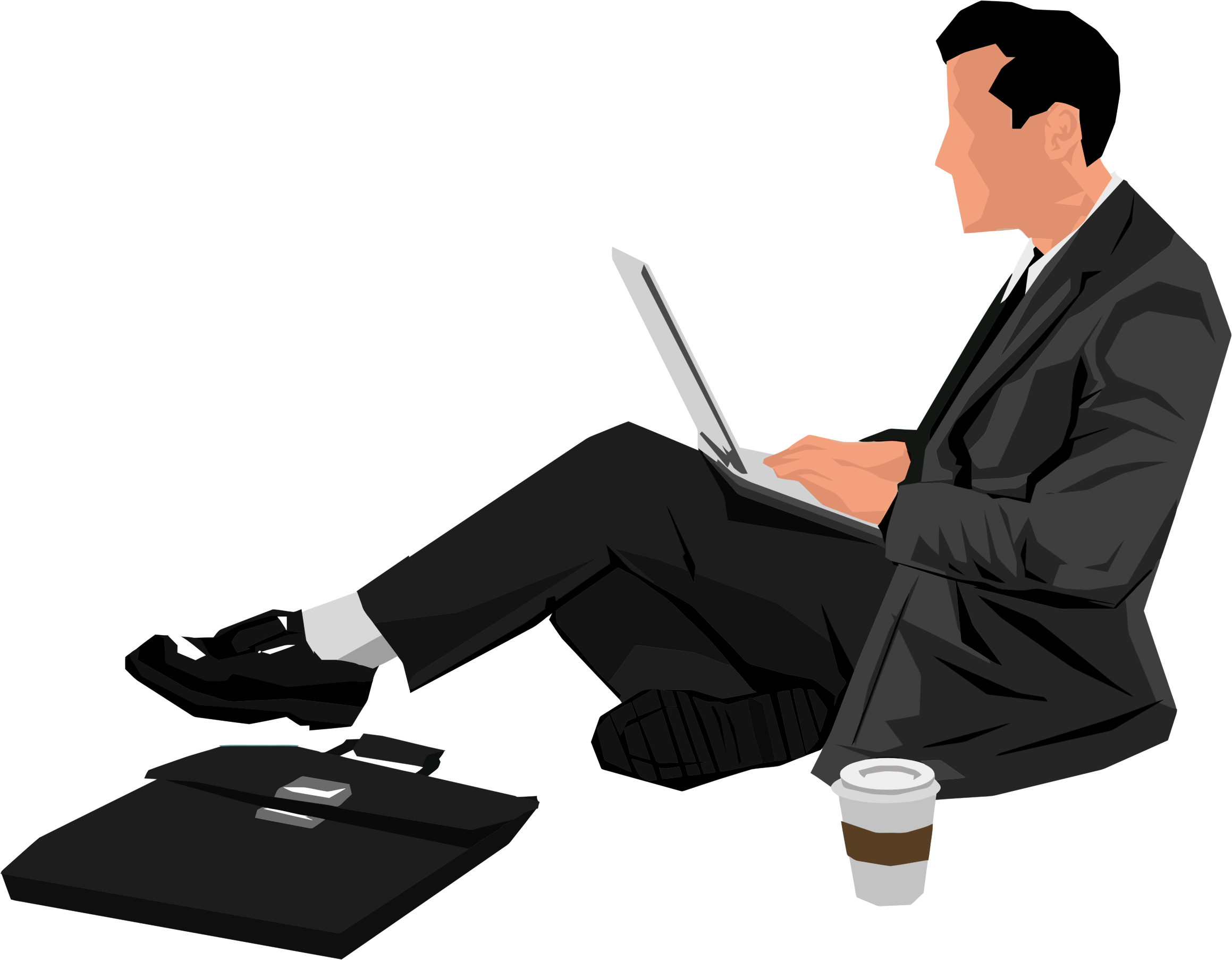 Person clipart laptop. Man sitting with big