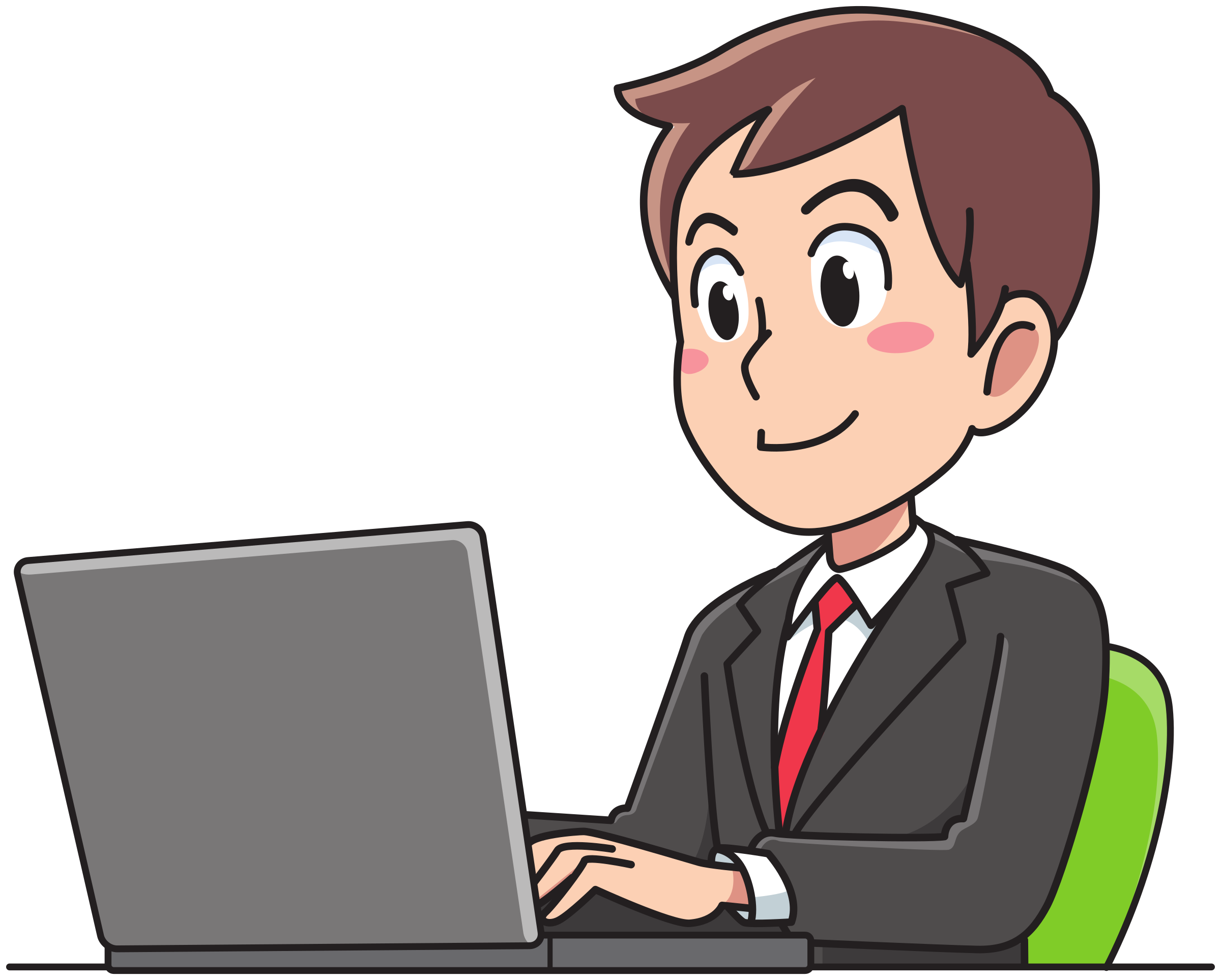 Business man working big. Person clipart laptop