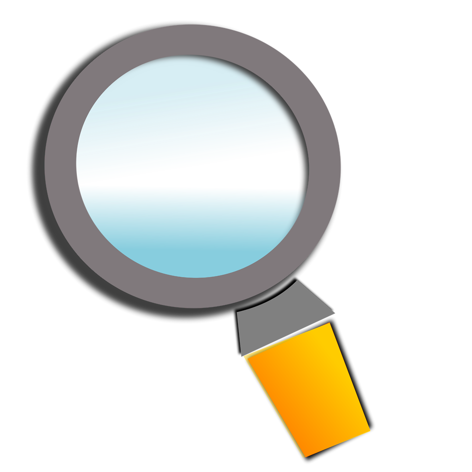 Free stock photo illustration. Clipart man magnifying glass