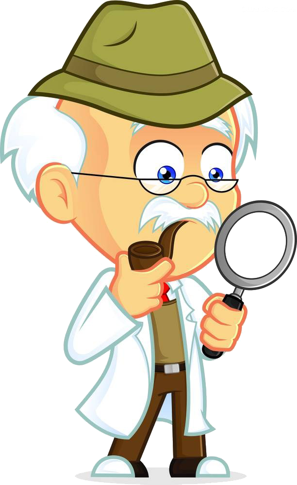 Professor cartoon royalty free. Clipart man magnifying glass