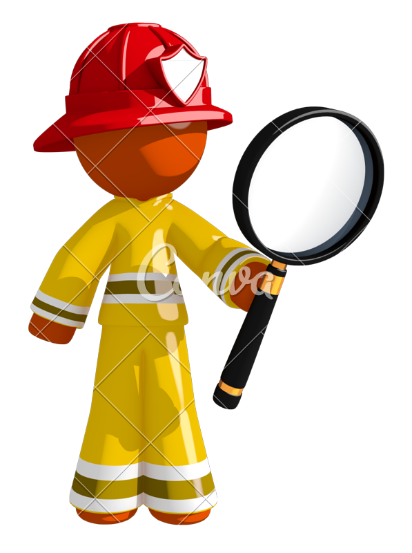 Orange firefighter looking through. Clipart man magnifying glass