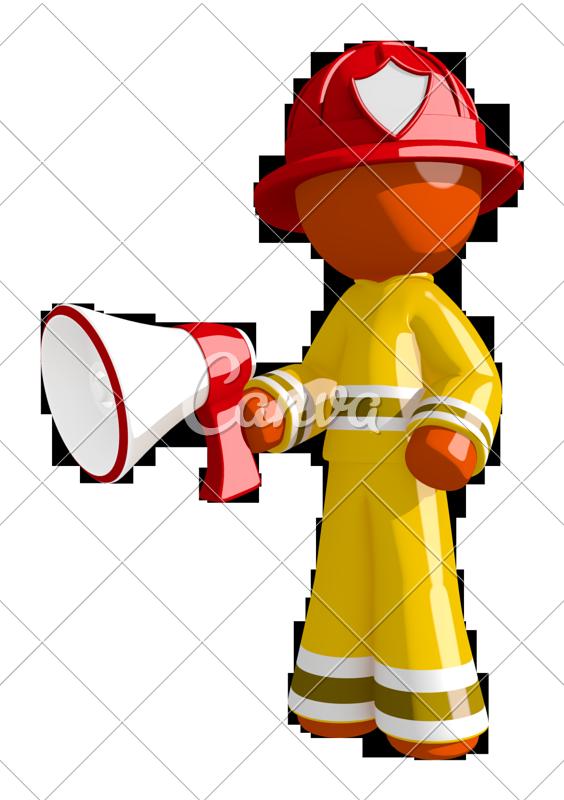 Firefighter clipart glove. Orange man holding megaphone
