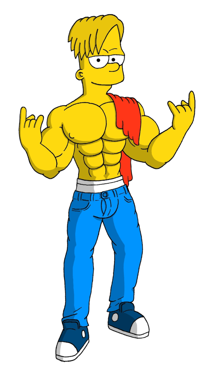 Clipart man muscle. Teen bart simpson by