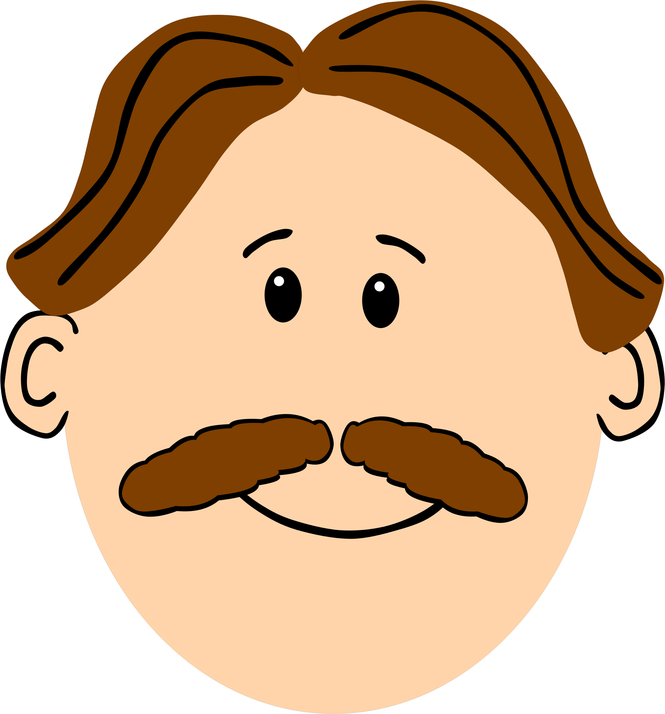 With hair and mustache. Clipart smile brown haired man