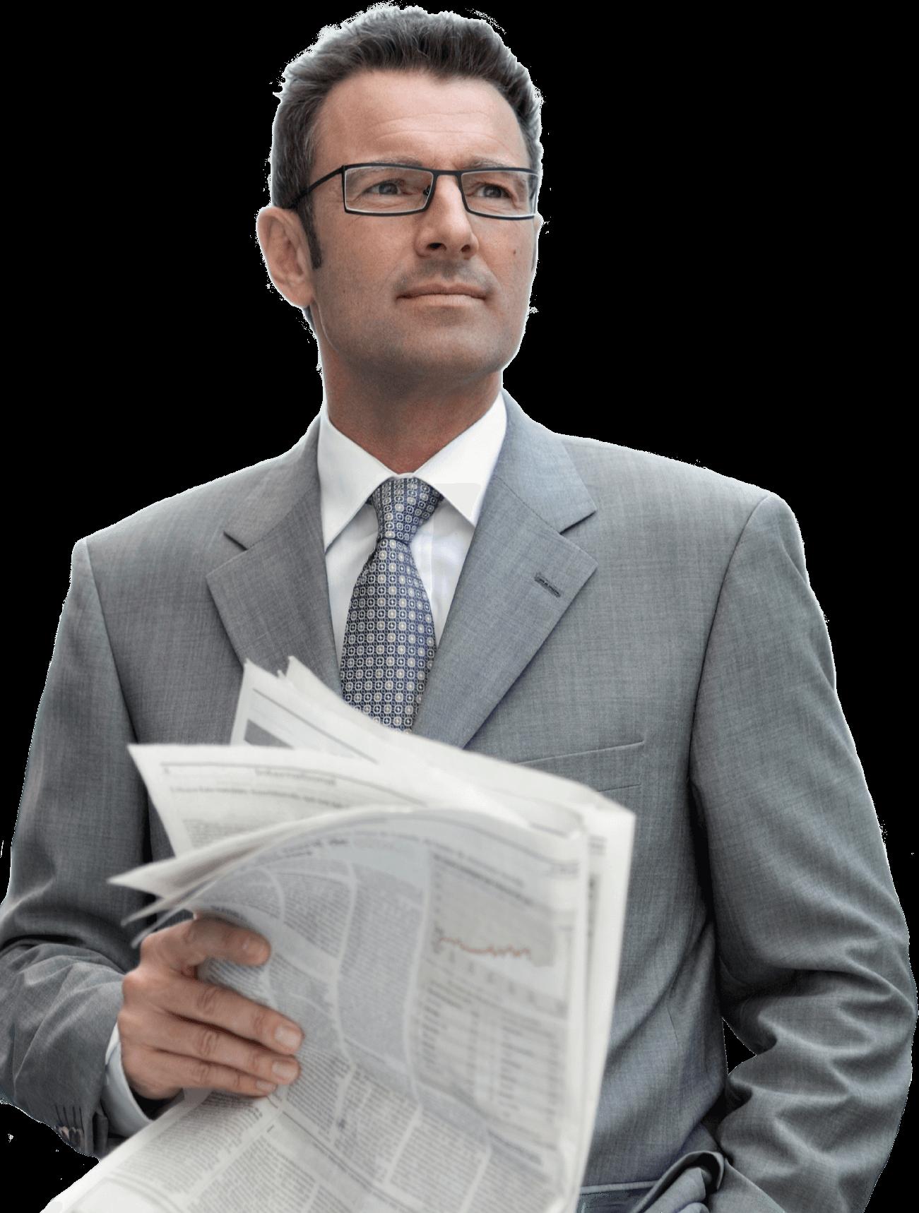 Businessman transparent png stickpng. Clipart man newspaper