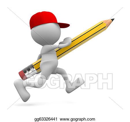 Pencil clipart person. Stock illustration gg gograph